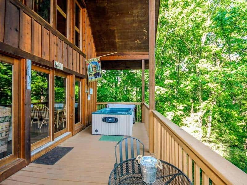 An image taken of the porch at Bear Country Cabin in Gatlinburg - a pet friendly rental option.