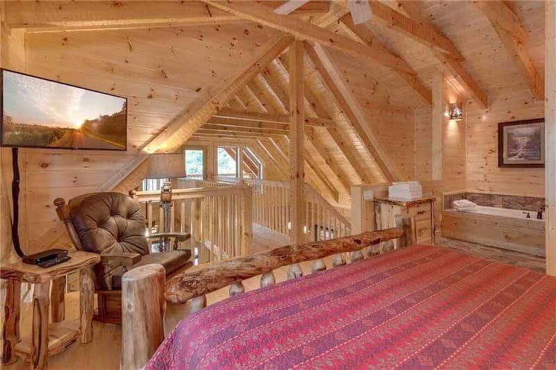 Loft Bedroom in Lovers' Hideaway - a 1 bedroom pet friendly cabin in Gatlinburg TN