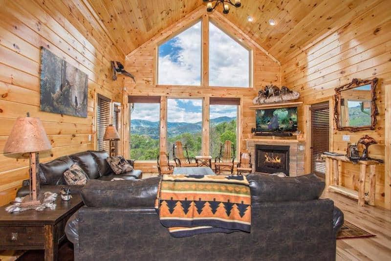 A view of the living room at Bella Vista Lodge - a pet-friendly cabin in Gatlinburg, TN