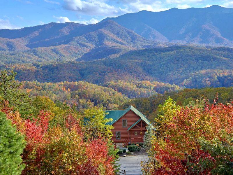 A bird's eye view of Cabin Gatlinburg overlooking the Great Smoky Mountains.